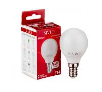 LED лампа Е14 G45 6W нейтральна біла 4100К SIVIO