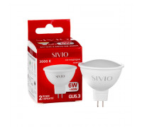 LED лампа GU5.3 MR16 6W тепла біла 3000К SIVIO