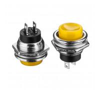Кнопка нажимная желтая 16мм 3А 125В без фиксации OFF-(ON) DS-212 SPST 2pin Daier