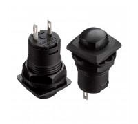 Натискна Кнопка чорна 12.7 мм 1.5 А 125В без фіксації ON-(OFF) DS-226 SPST 2pin Daier
