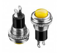 Кнопка нажимная желтая 20мм 0.5А 125В без фиксации OFF-(ON) DS-316 SPST 2pin Daier