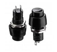 Кнопка нажимная черная 10мм 2А 250В с фиксацией ON-OFF DS-450 SPST 2pin Daier