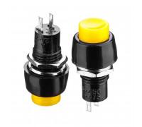 Кнопка нажимная желтая 10мм 2А 250В без фиксации OFF-(ON) DS-451 SPST 2pin Daier