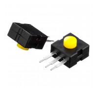 Натискна Кнопка жовта 12х12мм 1А 250В без фіксації ON-(OFF) PBS-05 SPST 2pin Daier