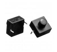 Кнопка нажимная черная 12x12мм 1А 250В без фиксации ON-(OFF) PBS-06 SPST 2pin Daier