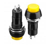 Натискна Кнопка жовта 12мм 1А 250В без фиксациии OFF-(ON) PBS-11В SPST 2pin Daier