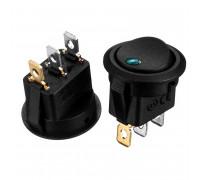 Кнопка перемикач LED зелений 20мм 6А 250В ON-OFF KCD1-101EN-8 Daier