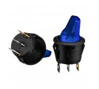 Кнопка перемикач синя 20мм 16А 250В ON-OFF KCD1-101N-7 4pin Daier 12Вт