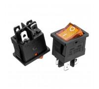 Кнопка перемикач жовта 13x10.2мм 6А 250В ON-(OFF) KCD1-201N-4 4pin Daier