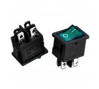 Кнопка перемикач зелена 13x10.2мм 6А 250В ON-OFF KCD1-201N-4 4pin Daier