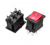 Кнопка перемикач червона 19.2х13мм 6А 250V ON-ON KCD1-202-1 6 pin Daier