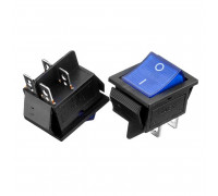 Кнопка переключатель синяя 27.8x28.5мм 16А 250В ON-(OFF) KCD2-201/N 4pin Daier