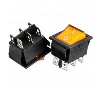Кнопка переключатель желтая 22x30мм 16А 250В ON-ON KCD2-202/N 6pin Daier