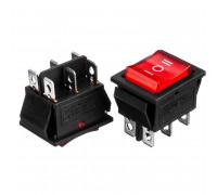 Кнопка перемикач червона 22х30мм 15А 250В OFF-(ON) KCD2-203/N 6 pin Daier