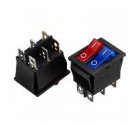 Кнопка перемикач червона синя 28.5х25мм 20А 250В ON-(OFF) KCD2-210N 6 pin Daier