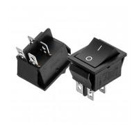 Кнопка переключатель черная 28.5x21мм 16А 250В OFF-(ON) KCD2-211 4pin Daier