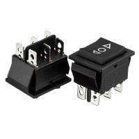 Перемикач KCD2-223, (ON)-OFF-(ON), (6 pin) чорний