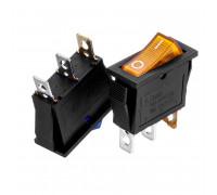 Кнопка переключатель желтая 28x10.2мм 10А 250В ON-(OFF) KCD3-102/N 3pin Daier