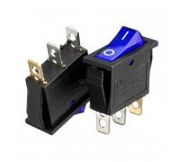 Кнопка переключатель синяя 28x10.2мм 10А 250В ON-(OFF) KCD3-102/N 3pin Daier