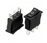 Кнопка перемикач чорна 28х11мм 15А 250В ON-OFF-ON KCD3-103 3pin Daier