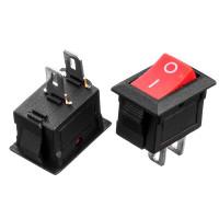 Кнопка переключатель красная 13.8x9мм 6А 250В ON-(OFF) KCD5-101 2pin Daier