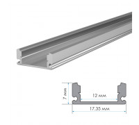 Алюминиевый профиль для LED накладной 2 м ПФ-15 + рассеиват.полумат.