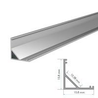 Алюминиевый профиль угловой ПФ-9 полуматовый рассеиватель (комплект) 2м
