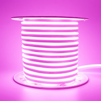 Неоновая лента светодиодная розовая AVT 220V smd2835 120LED/м 7Вт/м IP65