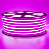 Неоновая лента светодиодная розовая 220V smd2835 120LED/м 12Вт/м IP65