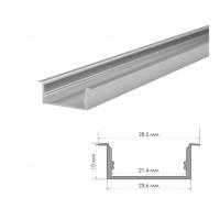 LED профіль врізний напівматовий розсіювач (комплект) 2м ПФ-26