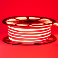 Неоновая лента светодиодная красная 12V 8х16 пвх smd2835 120LED/м 6Вт/м IP65