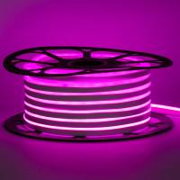 Неоновая лента светодиодная розовая 12V 8х16 пвх smd2835 120LED/м 6Вт/м IP65