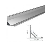 LED профиль угловой алюминиевый полуматовый рассеиватель (комплект) 2м ПФ-9