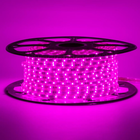 Герметична світлодіодна стрічка 220В рожева smd 2835-48 led/м 6 Вт/м