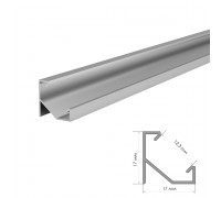 Алюмінієвий LED профіль кутовий (комплект) 2м ПФ-20/1 без покриття з полуматовим розсіювачем